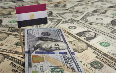 Flag of Egypt sticking in various american banknotes.(series)