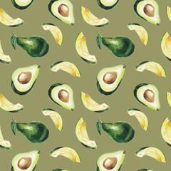 watercolor avocado pattern