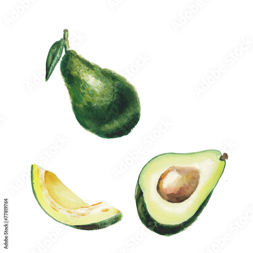 Poster watercolor avocado set