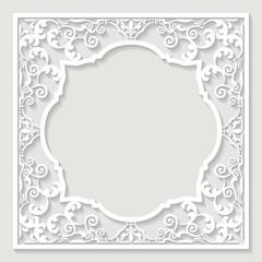 Filigree frame paper cut.