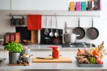 "Постер, картина, фотообои ""Closeup on table with vegetables in kitchen"""