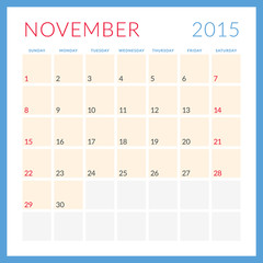 Calendar 2015. November. Week starts Sunday