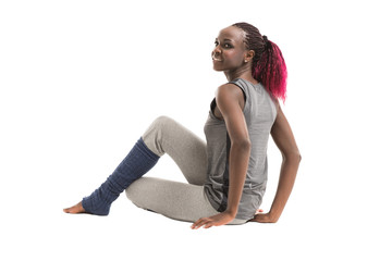 Fit african woman resting during workout