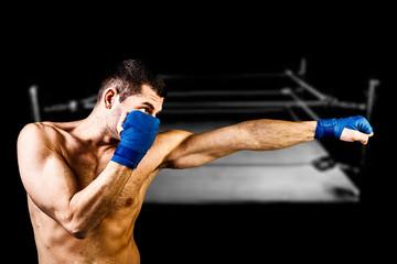 Boxer on dark background