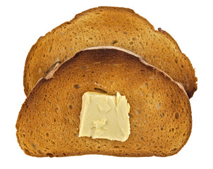 Toast of bread with butter