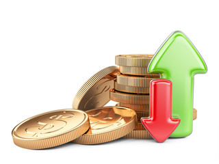 Financial success concept. Red and green arrows and coins