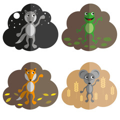 icons with wild animals, flat