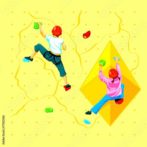 Boy and girl climbing a rock wall - 77823166