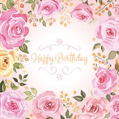 Birthday greetings. Watercolor.
