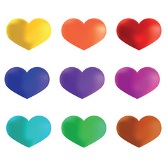 Bright multicolored hearts, template for Valentine's Day and we
