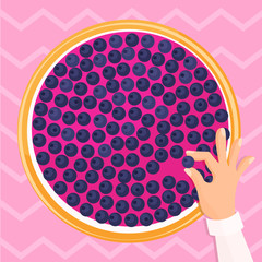 Vector illustration of hand making bilberry cake