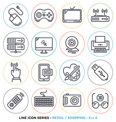 Retail and shopping line icons