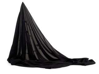 Fine black fabric headscarf, veil, hijab style material.