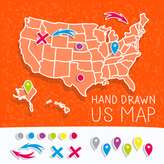 Hand drawn US map whith map pins vector illustration