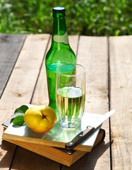 Pear cider and pears in the summer garden