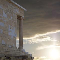 Athena Nike ancient temple, scenic sunset on Acropolis Greece