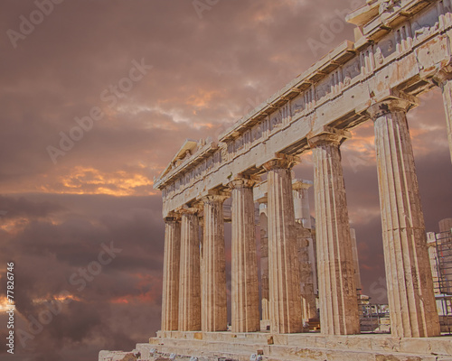 Poster Athene Parthenon ancient temple on Athenian Acropolis, Greece