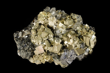 Pyrite and sphalerite mineral crystals