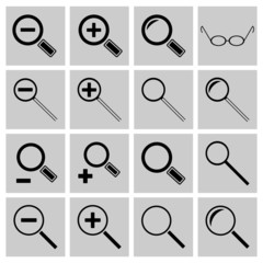 Icons search and scaling, vector illustration.