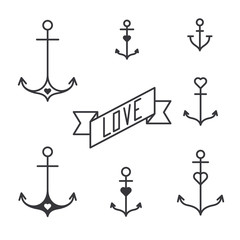 Set of seven lined anchors in tattoo style