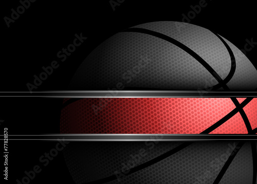 Basketball on black background - 77828570