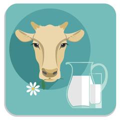 Vector modern flat design illustration of milk.