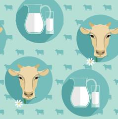 Vector modern flat design seamless illustration of milk.