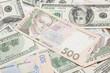Постер, плакат: the many dollars and ukrainian money money background