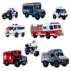 Cartoon law enforcement cars