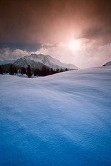 Швейцария горы Нендаз Зима Снег