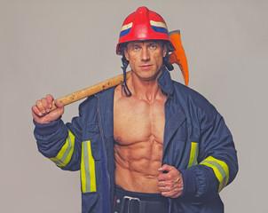Portrait of fireman on duty
