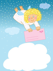 Funny angel flies with love card