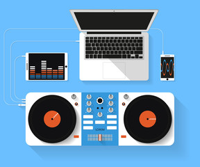 vector illustration of dj workspace