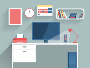 illustration concept of modern home or business work space