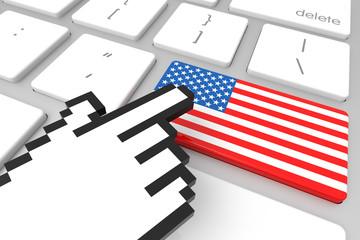 American Flag on Computer Key