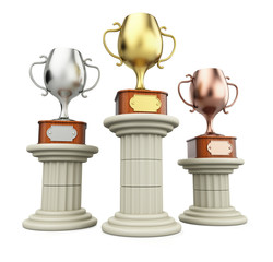 Winners cups on columns