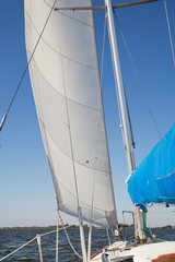 Sailing yacht catches the wind