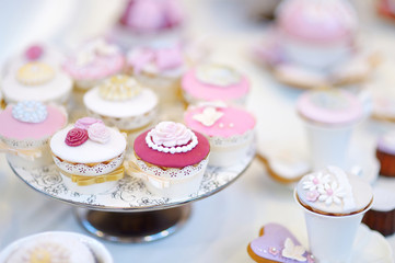 Delicious colorful wedding cupcakes