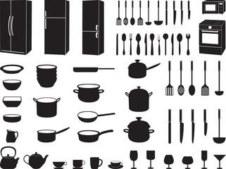 Kitchen tools illustrated on white