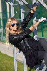 Attractive blonde woman engaged in physical exercise