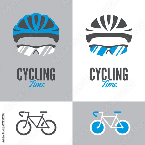 Fototapeta Bicycle, cycling helmet and glasses