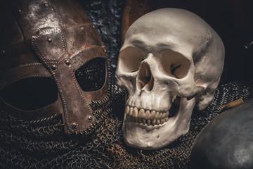 Helmet and skull