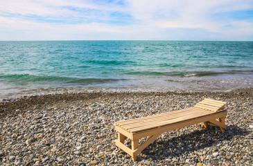 Beach plank bed at sea edge