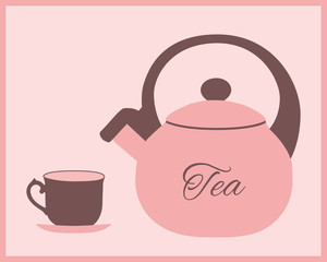 Teapot and teacup in pink and brown color