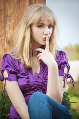 Portrait of girl in violet blouse