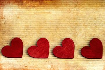 Rote Herzen, nostalgisch