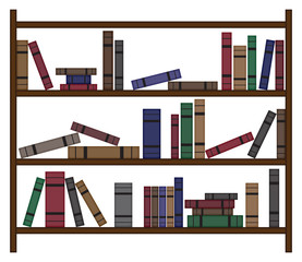 Busy Bookshelf With Books