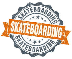 skateboarding vintage orange seal isolated on white