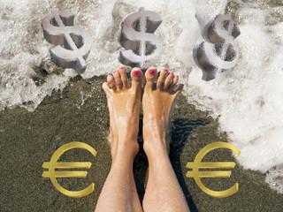 euro depreciates against  dollar  reaching historic lows