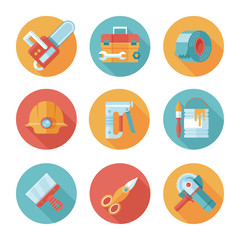 Trendy flat working tools icons.